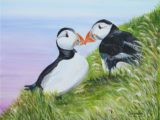 Puffins. paintings