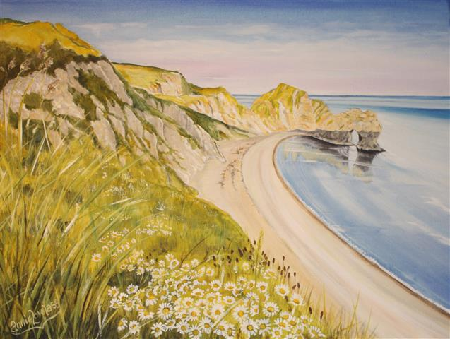 Description & Durdle Door \u2013 with Daisies. | Change of Direction Fine Art